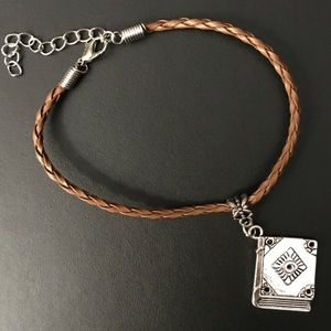 Brown Braided Leather Book Charm Bracelet